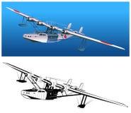 减速火箭的水上飞机向量 皇族释放例证