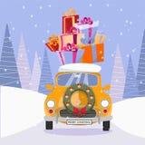 减速火箭的汽车和在上面的圣诞树的平的传染媒介动画片例证有礼物的 一点经典黄色汽车运载的礼物 皇族释放例证