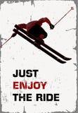 减速火箭的海报 滑雪者飞行 库存图片
