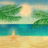 减速火箭的海滩例证 免版税库存照片