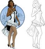 减速火箭的深色的在白色和黑色的女孩混合的族种 图库摄影