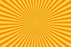 减速火箭的漫画书背景 葡萄酒黄色太阳光芒 流行艺术样式 库存例证