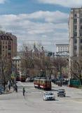 减速火箭的电车游行在莫斯科 免版税图库摄影