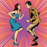 减速火箭的男人和妇女跳舞流行艺术 库存例证