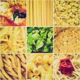 减速火箭的看起来意大利食物拼贴画 图库摄影