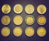 减速火箭的神色欧元硬币 免版税库存照片