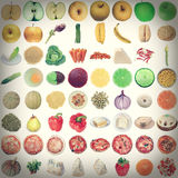 减速火箭的神色食物拼贴画 图库摄影