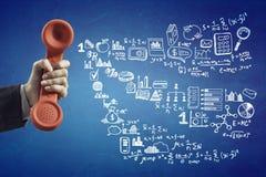 减速火箭的红色电话接收器 混合画法 免版税图库摄影