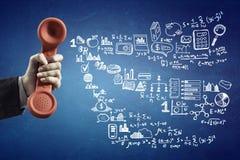 减速火箭的红色电话接收器 混合画法 免版税库存图片