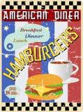 减速火箭的美国吃饭的客人标志 免版税库存照片