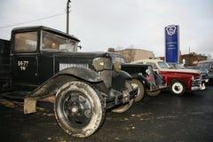 减速火箭的老汽车GAZ - AA,著名` polutorka `,第二次世界大战的汽车的片段 WW2 -苏联1930年 免版税库存图片