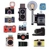 减速火箭的老照相机和标志摄影师的 传染媒介平的图片 库存例证