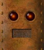 减速火箭的脏的生锈的机器人面孔 免版税库存照片
