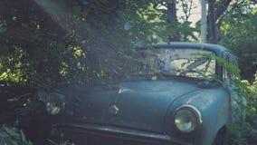 减速火箭的苏联蓝色汽车长满与草 生锈在农夫` s领域的经典汽车 免版税库存图片