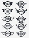 减速火箭的葡萄酒徽章传染媒介设计集合 免版税库存图片