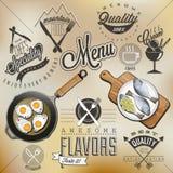 减速火箭的葡萄酒样式餐馆菜单设计 免版税图库摄影