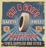 减速火箭的葡萄酒海报-金属标志设计 免版税库存照片