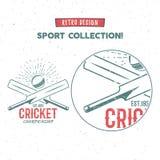 减速火箭的蟋蟀商标象设计 葡萄酒玩板球者象征设计 蟋蟀徽章 体育发球区域设计和标志与 图库摄影