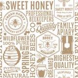 减速火箭的被称呼的蜂蜜无缝的样式、商标和象 库存图片