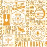 减速火箭的被称呼的蜂蜜无缝的样式、商标和象 免版税库存图片