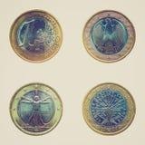 减速火箭的被隔绝的看起来欧洲硬币 免版税库存图片