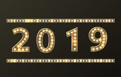 减速火箭的计数2019新年贺卡 向量例证
