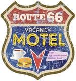 减速火箭的路线66汽车旅馆标志 免版税库存图片