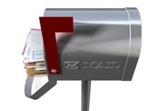 减速火箭的邮箱和白色信封堆 库存照片