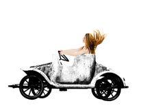 减速火箭的难看的东西玩具汽车的妇女 图库摄影
