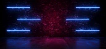 减速火箭的霓虹在难看的东西砖紫色发光的墙壁水泥反射地板上的科学幻想小说现代未来派氖发光的蓝线光 皇族释放例证