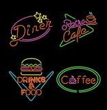 减速火箭的霓虹灯标志集合食物咖啡饮料 库存例证