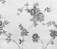 减速火箭的鞋带花卉无缝的样式单调黑白织品背景 免版税库存照片