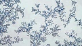 减速火箭的鞋带花卉无缝的样式蓝色织品背景葡萄酒样式 免版税库存照片