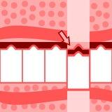 减速火箭的风格化红色桃红色白色五步信息图表 库存照片