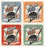 减速火箭的食物海报 库存照片