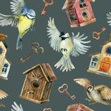 减速火箭的鸟、鸟舍和钥匙无缝的样式 图库摄影
