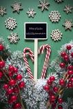 减速火箭的黑圣诞节标志,光,Willkommen意味欢迎 库存照片