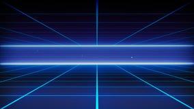 减速火箭的20世纪80年代的科学幻想小说背景未来派风景 数字网络表面 向量例证