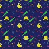 减速火箭的绅士元素-常礼帽、髭,烟斗单片眼镜、藤茎和伞无缝的样式 库存照片