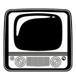 减速火箭的黑白葡萄酒电视 背景例证鲨鱼向量白色 免版税库存照片