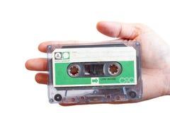 减速火箭的绿色标签协定卡式磁带 免版税图库摄影