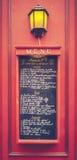 减速火箭的巴黎餐馆菜单 库存照片