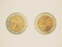 减速火箭的从马耳他的看起来欧洲硬币 库存图片