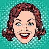 减速火箭的Emoji微笑喜悦妇女面孔 皇族释放例证