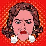 减速火箭的Emoji愤怒愤怒煮沸的妇女面孔 库存例证