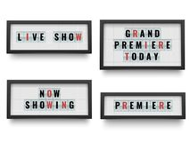 减速火箭的lightbox标志 宣布电影或剧院的灯箱广告牌宣布 提取空白背景蓝色按钮颜色光滑的例证查出的对象被设置的盾发光的向量 库存例证