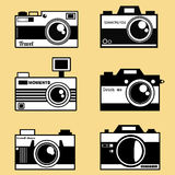 减速火箭的photocameras传染媒介集合 免版税库存照片
