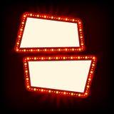 减速火箭的Showtime 20世纪50年代标志设计 霓虹灯广告牌 戏院和剧院标志电灯泡框架待售飞行物 免版税库存图片