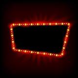 减速火箭的Showtime 20世纪50年代标志设计 霓虹灯广告牌 戏院和剧院标志电灯泡框架待售飞行物 向量例证