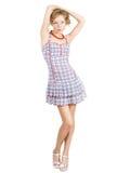 减速火箭礼服的女孩 免版税库存照片